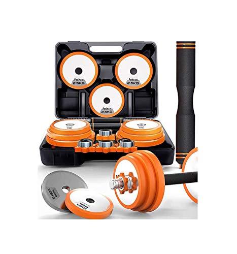 Hanteln 30kg Kurzhantel mit Conector Edelstahl orange, Premium Hantelset im Koffer
