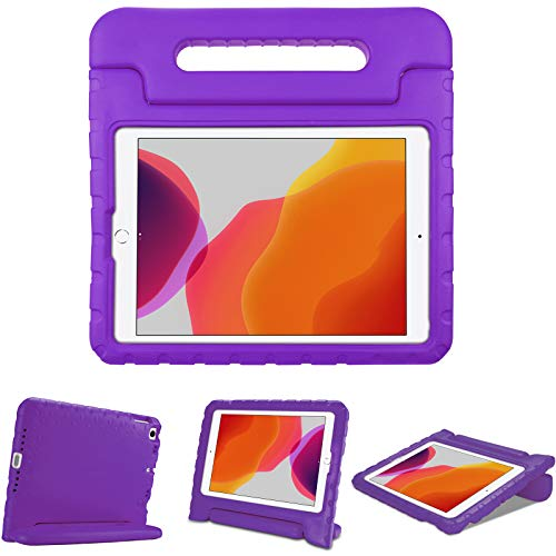 """ProCase Kids Case for iPad 10.2 9th Gen 2021 / 8th Gen 2020 / 7th Gen 2019 / iPad Air 10.5"""" 2019 / iPad Pro 10.5, Shockproof Convertible Handle Stand Cover Light Weight Kids Friendly Case -Purple"""