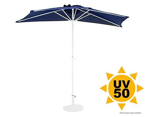Ondis24 Wandschirm 2,7 x 1,4 Meter Sonnenschutz Sonnenschirm halbrund mit Kurbel, UV 50, Blau Weiß Marine