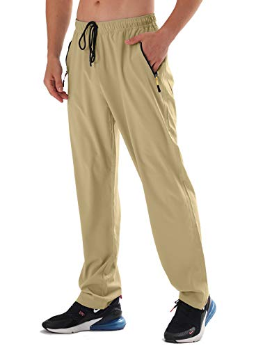 AIRIKE Mens Zipper Pockets Athletic Jogging Pants Outdoor Water Resistant Quick Dry Sweat Pants with Elastic Waist Khaki