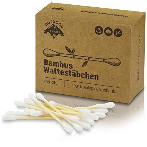 Bambus Wattestäbchen (200) Vegan & Nachhaltig, 100{0149dbf6b51b9efc787facf7688c34ed5d34a3bbdae18e7de71c614f6320bdfb} Biologisch Abbaubar, Kompostierbar - Plastikfreie Zero Waste Produkte
