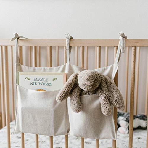Magent Bolsa para ropa de cama, bolsa de juguetes, bolsa de cuna, bolsa de pañales, soporte para juguetes para cuna, bolsa con 2 bolsillos
