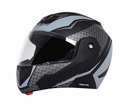 Vega Crux ABS Shell Flip Up Clear Vision Helmet, 57-59.5cm (Black and Grey)