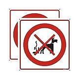 Andchi 2 piezas de señal de advertencia de limpieza después de perro, señales sin suciedad, señal cuadrada de aluminio y metal, tamaño 300x300 mm