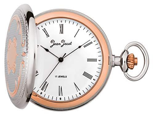 JEAN JACOT Taschenuhr – Zeitloses Accessoire für KULTIVIERTE Herren – Handaufzug – Rückseitiger Glasausschnitt – Inklusive Kette (Gehäuse-Ø 50 x 12 mm) – C335284