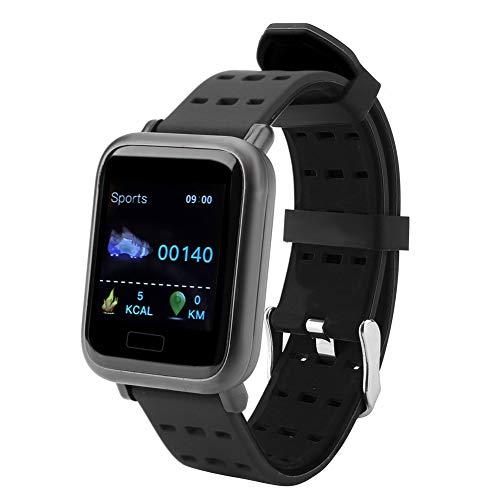 Pokerty wasserdichtes Armband, Wasserdichtes Armband, IP67 für große Bildschirme wasserdichte Multifunktionsuhr Intelligentes Armband Blutdruck-Herzfrequenz-Sport-Schrittzähleruhr(schwarz)