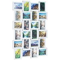 Relaxdays Marco de Fotos Múltiple para 24 Fotografías, Blanco, 86x59x2.5 cm