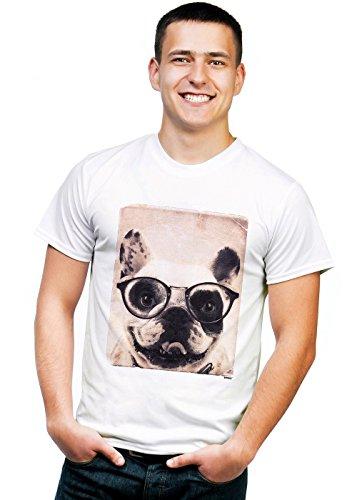 Retreez Vintage Funny Nerdy French Bulldog Mugshot Graphic Printed Unisex Men/Boys/Women T-Shirt Tee - White - Medium