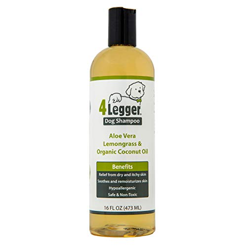 4Legger USDA Certified Organic Dog Shampoo - Hypoallergenic Dog Shampoo for Soothing Relief of Itchy Skin with Natural Coconut Oil, Lemongrass and Aloe to Eliminate Odor - Made in USA