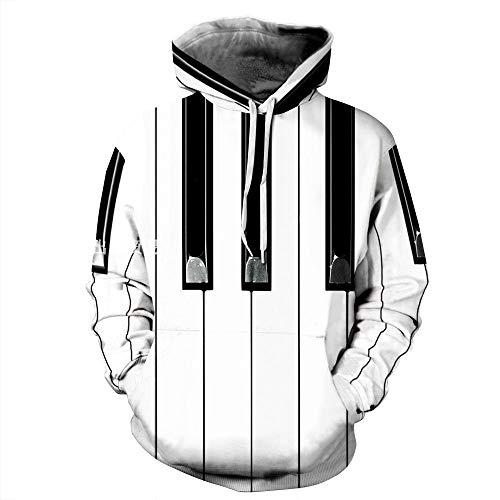 XYL HOME Hooded trui, Unisex realistische 3D piano toetsen digitale afdrukken mode trui hoodie hooded sweatshirt trui