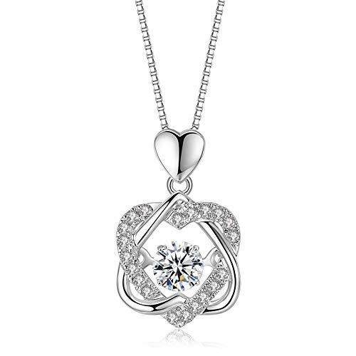 Luzhimx - Collar de plata de ley 925 con circonitas, colgante para mujer