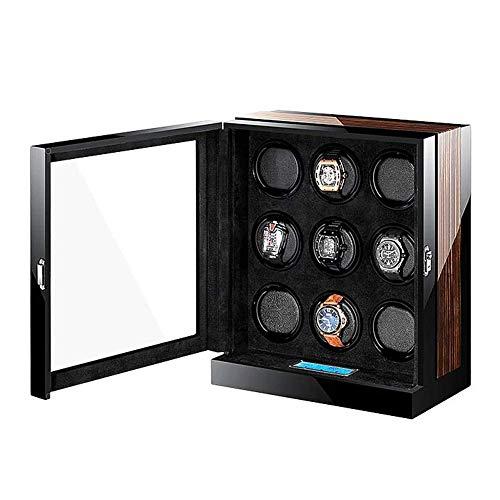 Caja de 9 Relojes enrolladora con Motor silencioso Pantalla Digital LCD táctil e iluminación LED Almohada de Cuero PU Pintura para Piano Happy Life