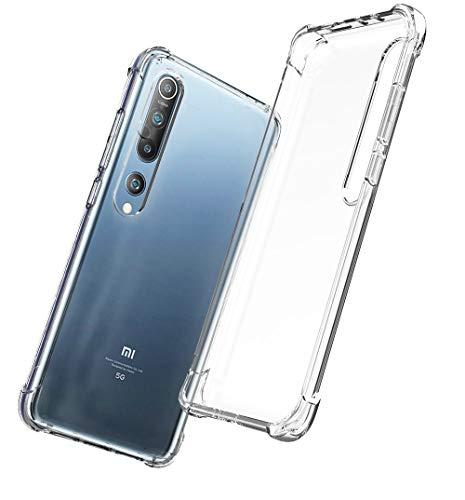 QHOHQ Funda para Xiaomi Mi 10/10 Pro(No es para Xiaomi Mi Note 10 / Note 10 Pro), Cases Silicona Slim TPU Cuatro Esquinas Anti-caíd (Transparente)