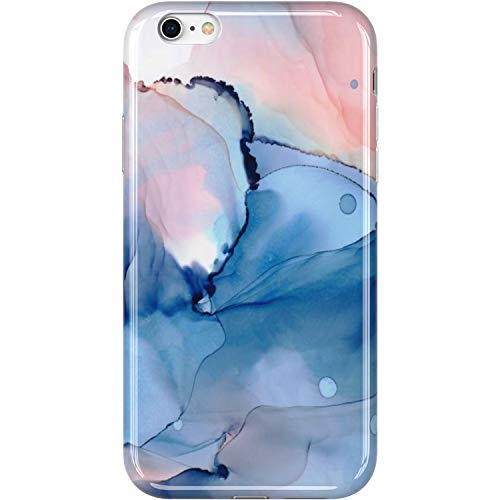 VIVIBIN iPhone 6 Case,iPhone 6s Case,Cute Opal Marble Blue for Women Girls Clear Bumper Soft Silicone Rubber TPU Cover Slim Fit Protective Phone Case for iPhone 6/iPhone 6s