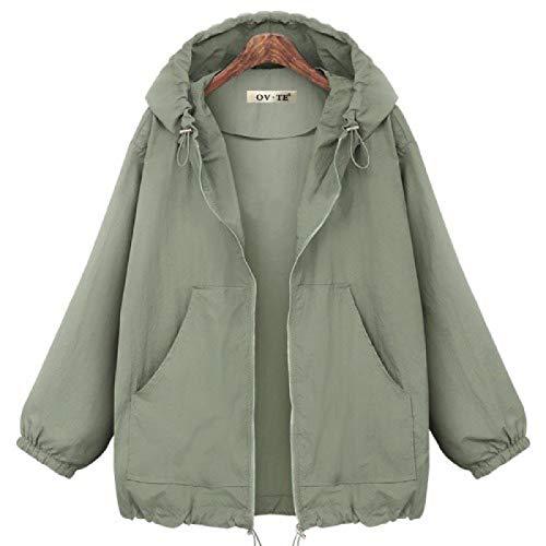 Katenyl Chaqueta con capucha para mujer Color sólido Moda informal Ropa de calle suelta y cómoda Abrigo con cremallera con cordón 4XL