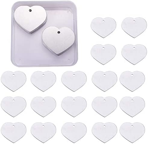 BENECREAT 30 Pack 1 49x1 Heart Shape Stamping Blanks Aluminum Blank Pendants with Storage Box product image