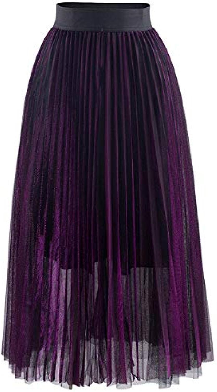 WHFDBZQ Autumn Solid Slim Thin Long Pleated Skirts Elastic and America Midi Skirt High Waist Elegant Streamer Skirts for Women