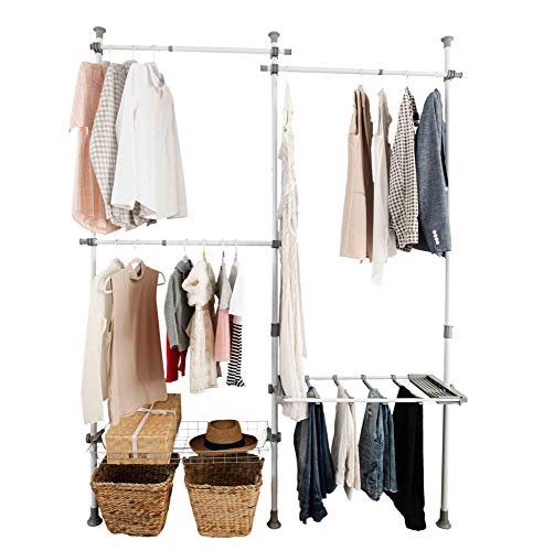 Closet Organizer Kit Closet Organization System Garment Organizer Clothing Hanger Rack Heavy Duty Hanging Shelf Modular Storage System Shelves Dividers Pants and Shelf Hanger, Garment Rack