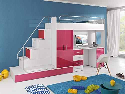 KRYSPOL Etagenbett für Kinder Raj 5 Stockbett mit Treppe, Kleiderschrank und Schreibtisch (Weiß + Rosa Glanz, Seite: Links)