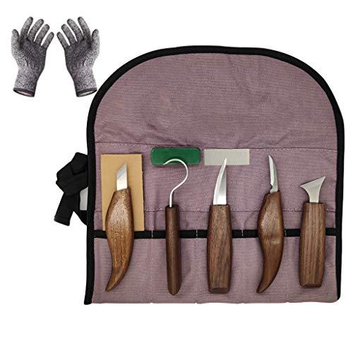 Juego de 10 herramientas profesionales para tallar madera de nogal, cromo vanadio, material anticorte, guantes, cuchillo de...