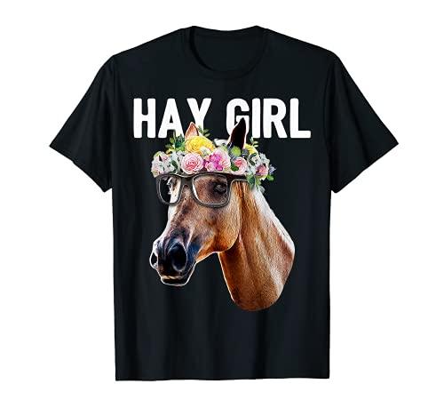 Heno Girl Floral Caballo Equestrian Granja Regalo Camiseta