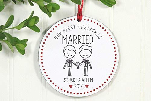 None-Brands Regalo para boda gay Mr and Mr Ornamento de primera Navidad...