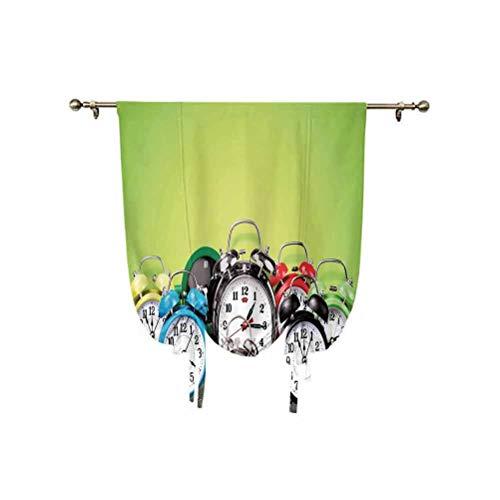 Cortina de ventana pequeña con diseño nostálgico, con aislamiento térmico, un grupo de relojes despertadores en el suelo de madera, 137 x 150 cm, para sala de estar, cortina romana, color verde lima