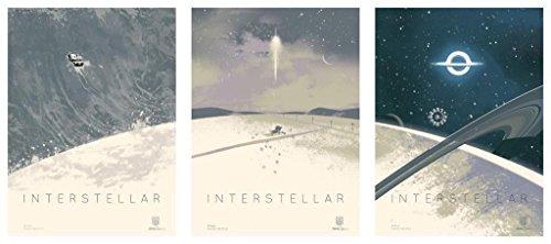 "INTERSTELLAR 12""x16"" SET OF 3 Original Promo Movie Posters 2014 IMAX Christopher Nolan"
