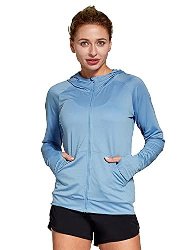 FitsT4 Sportjacke Damen Lauf Jacke Langarm Trainingsjacke voll Reißverschluss UPF 50+ Rash Guard schnelltrockend für Wanderung, Laufen, Fitness und Radfahren,Blau,Gr.M