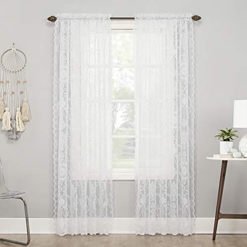 "No. 918 Ariella Floral Lace Rod Pocket Curtain Panel, 58"" x 63"", White"