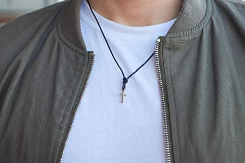 Kreuzkette Herren Halskette Surfer Kette mit Kreuz Anhänger - Made by Nami Handmade - aus Leder - Schwarz
