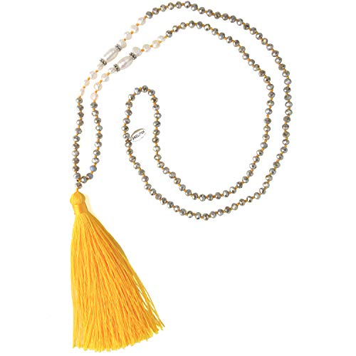 KELITCH New Long Tassel Strands Necklace Pearl Crystal Beaded Necklace Handmade Bib Shining Y-Shape Necklace (Yellow N)