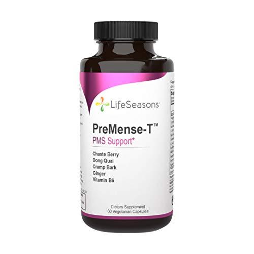 LifeSeasons - PreMense-T - PMS Relief Supplement - for Pre Menstrual Symptoms, Cramping, and Period Pain Relief - Contains Ginger, Dong Quai, Crampbark, Vitamin B-6-60 Capsules