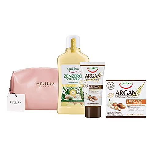 EQUILIBRA Kit : Zenzero Collutorio Freschezza Intensa - Argan Crema Viso Nutriente - Argan Crema Viso Anti-Rughe + Pochette
