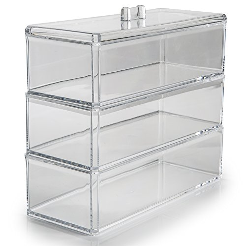 SO02881 Organisateur en acrylique avec 3 compartiments transparents pour maquillage, bijoux et produits de beauté, 23 x 9 x 21 cm Idéal pour ranger des petits objets.