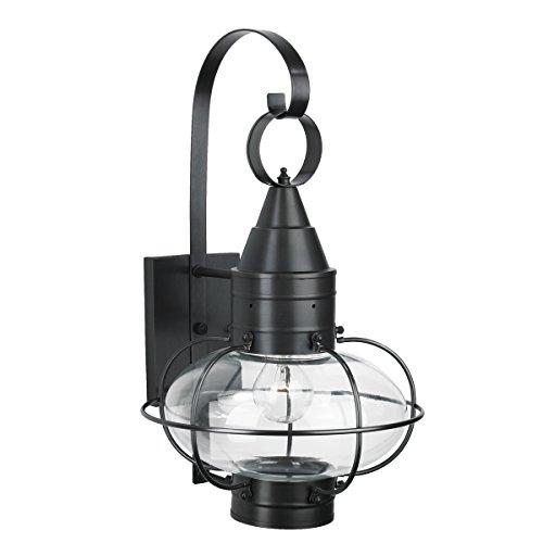 Norwell Lighting 1512 Medium Wall Mount Outdoor One Light Classic Onion (Black w/Clear Glass)