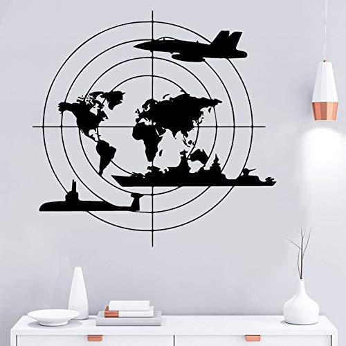 Moderne Weltkarte Krieg Schlachtschiff Kämpfer U-Boot Wandaufkleber Schlafzimmer Büro Home Decoration Decal Kinderzimmer Kunst Wandbild Poster Junge Geschenk
