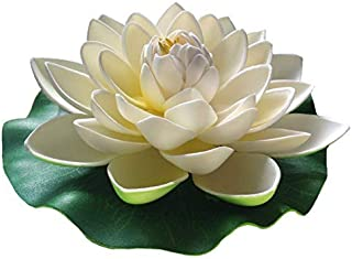 Floral Kingdom 12 inch XLarge Floating Lotus Lily pad Foam Flowers for Ponds, Weddings, Pool, and Garden Decor (Set of 2) (White)