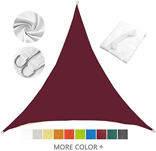 Triangle Shade sail Outdoor Terrace, Garden, Terrace and Camping Sunscreen Waterproof Triangle shed, 95% UV Awning, 10 Colors,Red Wine- 3X3x3M