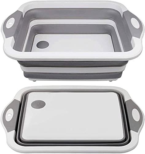Cutlery Racks Collapsible Cutting Board - Multifunction Chopping Board, Basin Drainer & Washing Bowl Dish Tub Draining Plug Kitchen Kitchen shelf (Color : Gray)