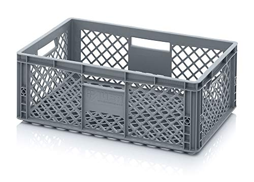 Auer Eurobehälter durchbrochen EO 64/22 Bäckerkiste 60x40x22cm Box 43L Lager- und Transportbox stapelbar Lebensmittelkorb Backwaren-, Gemüse- und Obstkiste aus lebensmittelechten PE-HD Kunststoff