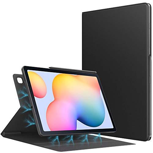 TiMOVO Hülle Kompatibel mit All-New Samsung Galaxy Tab S6 Lite 10.4 Inch 2020 (SM-P610/P615), PU Leder Glasfaser Schlank Schutzhülle Magnetisch Ständer Auto Schlaf/Wach Hülle - Schwarz