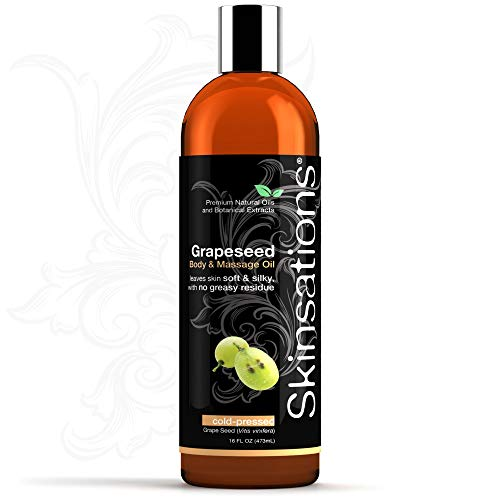 Grapeseed Oil for Skin and Hair - Skinsations 16oz   100% Pure, Refined, Cold-Pressed, Rejuvenate Skin, Soften Hair, Soothe Sensitive, Dry Skin