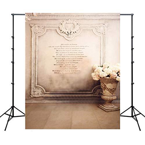 WQYRLJ 5 X 7 Ft fotografie Kulissen, jaargang houten vloer bloem partitie gordijnen Studio Foto achtergrond Adult Portrait YouTube Banner Props C