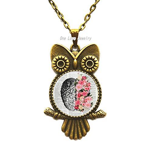Ni36uo0qitian0ozaap Collar de búho colgante redondo con diseño de flor y diseño de flores, hombres y mujeres llevan joyería búho collar, TAP238