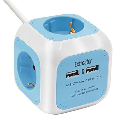 EXTRASTAR DE-Typ Power Cube 4-Fach Steckdosenwürfel mit 2 USB-Anschlüssen (5V/2.1A), 1.5M Kabel Power Würfel/Steckdosenblock/Mehrfachsteckdose/Steckdosen mit Kinderschutz - Blau