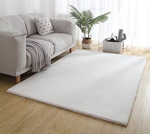 Amazinggirl alfombras Salon Grandes - Pelo Largo Alfombra habitación Dormitorio Lavables Comedor Moderna vivero (Color Bianco, 120 x 160 cm)