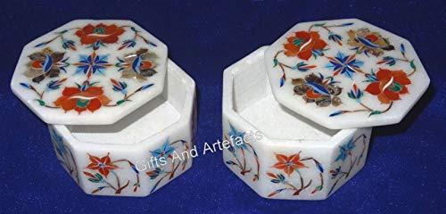 Juego de 2 cajas de anillos de mármol blanco con diseño de mosaico para regalo de cumpleaños de 3 pulgadas