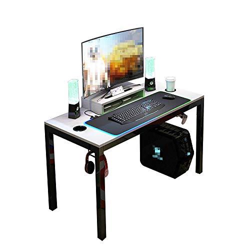 DlandHome Mesa de Juegos Pro para PC Todo en Uno para Computadora de Juegos con Alfombrilla de ratón RGB LED Game & Soporte de Pantalla 120 * 60cm Estación de Trabajo, Gris & Negro