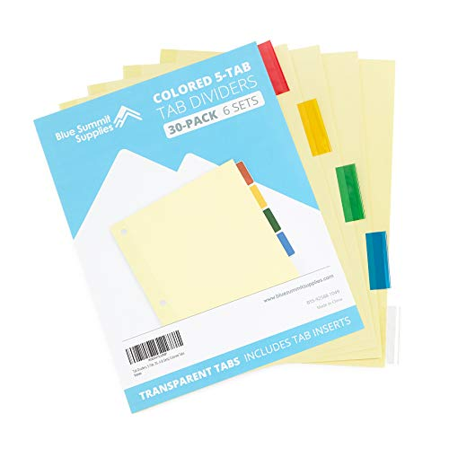 Blue Summit Supplies 5-Tab Binder Dividers, Manila Paper with Insertable Colored Plastic Tabs, Reinforced 3 Ring Dividers with Perforated Paper Tab Inserts, 6 Sets